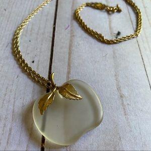 Vintage Avon apple pendant necklace